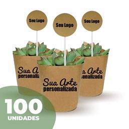 100 Mini Suculentas Pote 06 no Papel Kraft ou Papel Branco Personalizado (Mande a sua Arte)