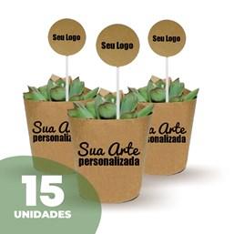 15 Mini Suculentas Pote 06 no Papel Kraft ou Papel Branco Personalizado (Mande a sua Arte)