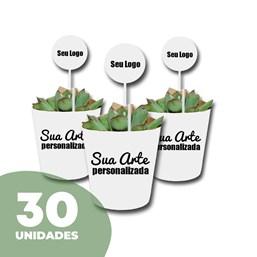 30 Mini Suculentas Pote 06 no Papel Kraft ou Papel Branco Personalizado (Mande a sua Arte)