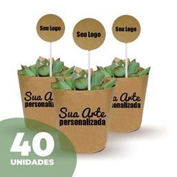40 Mini Suculentas Pote 06 no Papel Kraft ou Papel Branco Personalizado (Mande a sua Arte)