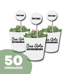 50 Mini Suculentas Pote 06 no Papel Kraft ou Papel Branco Personalizado (Mande a sua Arte)