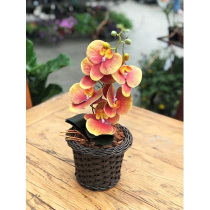 Arranjo Permanente (Artificial) Orquídea Phalaenopsis Laranja