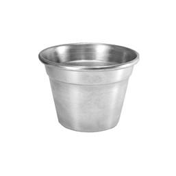 Cachepô De Alumínio Médio Cinza Brilhante 8,5cm x 12cm