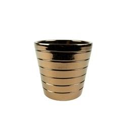 Cachepô de Cerâmica Tessa Ouro - 16cm x 17cm