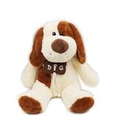 Produto Cachorro De Pelúcia Com Colar De Osso (32 cm) Marrom