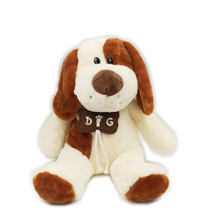 Cachorro De Pelúcia Com Colar De Osso (32 cm) Marrom