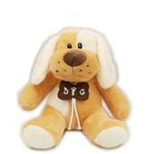 Produto Cachorro De Pelúcia Com Colar De Osso Bege (32 cm)