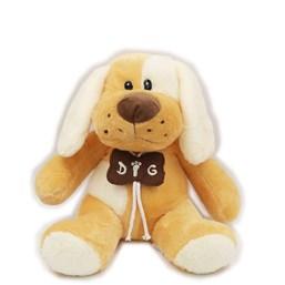 Cachorro De Pelúcia Com Colar De Osso Bege (32 cm)
