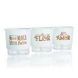 Conjunto Vasos Autoirrigáveis Flor e Amor - Branco - 11cm x 12cm