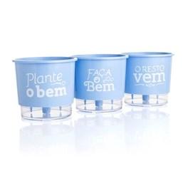 Conjunto Vasos Autoirrigáveis Plante o Bem - Azul Seren - 11cm x 12cm