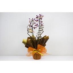 Lindo Arranjo De Orquídea Branca e Roxa