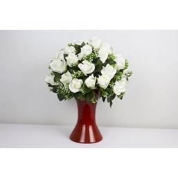 Lindo Arranjo de Rosas Brancas Permanente (Artificial)