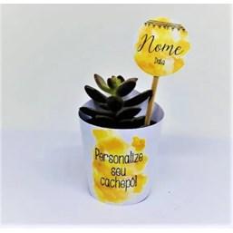 Mini Suculentas Pote 06 no Papel Kraft ou Papel Branco Personalizado (Mande a sua Arte)