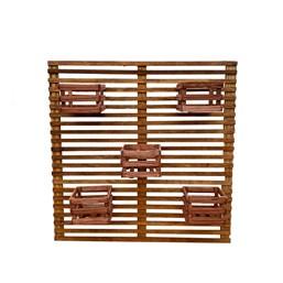 Painel Treliça de Madeira 1,00m x 1,00m + 5 cachepôs de madeira 20cm x 18cm