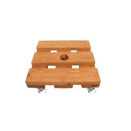 Rodízio De Madeira Quadrado Com Rodas De Silicone 25cm X 25cm
