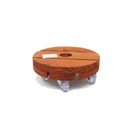 Rodízio De Madeira Redondo Com Rodas De Plástico 20cm X 20cm