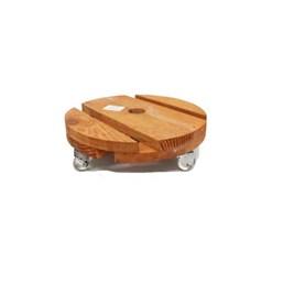 Rodízio De Madeira Redondo Com Rodas De Silicone 20cm X 20cm