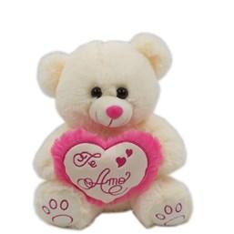 """Urso Branco De Pelúcia Com Coração """"Te Amo"""" (30 cm)"""