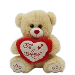 """Urso De Pelúcia Caramelo com coração """"Te Amo"""" (30 cm)"""