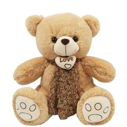 Urso Fofo Com Um Lindo Cachecol Marrom (40 cm)